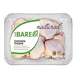 Just BARE Natural Fresh Chicken Thighs | Family Pack | Antibiotic Free | Bone-In | 2.25 LB