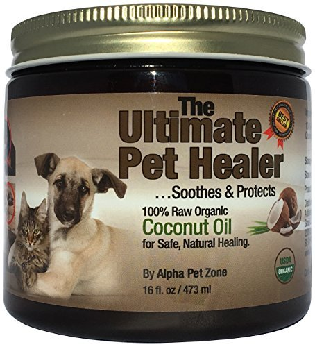 ALPHA PET ZONE Coconut Oil for Dogs & Cats, 16 Ounce, Treatment for Itchy Skin, Dry Elbows, Paws and Nose