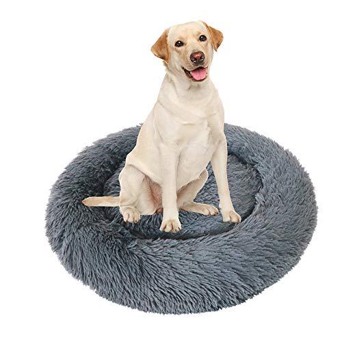 Paw Jamboree Calming 23' Dog Bed Donut Cuddler Dog Bed and Cat Bed (23', Dark Grey)