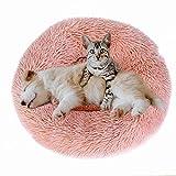 EASTLION Pet Bed Calming,Round Dog Cat Plush Nest Donut Cuddler,Soft Warm Cushion Puppy Kitten Comfort Sleeping Mat Kennel Doghole (Medium Size:60cm,Pink)