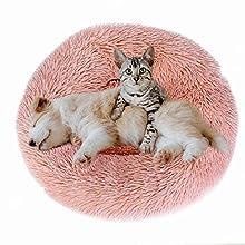 Eastlion Cama Perro Deluxe Felpa Redonda,Plush Cama Calmante Donut Gato Suave Cómoda,Nido Calentito Cojín Lavable para Mascotas Pequeña Gatos y Perros(Rosado-Diámetro:80 CM)