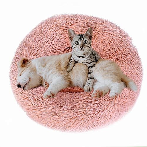 Eastlion Cama Perro Deluxe Felpa Redonda,Plush Cama Calmante Donut Gato Suave Cómoda,Nido Calentito Cojín Lavable para Mascotas Pequeña Gatos y Perros(Rosado-Diámetro:60 CM)
