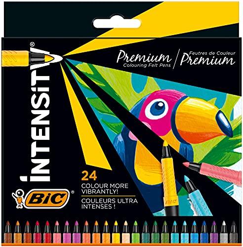 BIC Intensity Premium Filzstifte, zum Malen in 24 Farben, mit Kautschukgriff und stabiler Spitze, Ideal für Schultüte, Schulanfang und Einschulung
