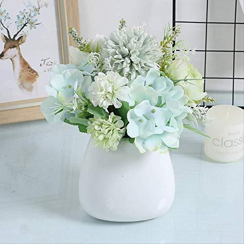 Yuechenxin Künstliche Blume,Wohnzimmer Dekorationen, Rose Vase Ornamente, Tischblumen 21X20Cm Zitrone Gelb Gans Protein S1 Naomi Grün
