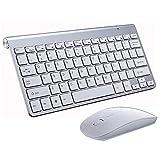 ワイヤレスキーボード マウス セット 2.4GHz ミニ 無線キーボード マウス コンボ 薄型 対応USB接続採用 パソコン ノートパソコン スマートTV Windows10/8/7 Macに対応 (白)