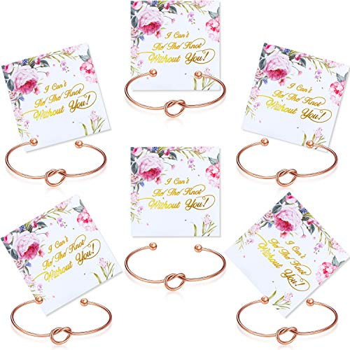 6 Pieces Bridesmaid Bracelet Knot Cuff Bangle with I Can't Tie The Knot Without You Bridesmaid Cards (Rose Gold)