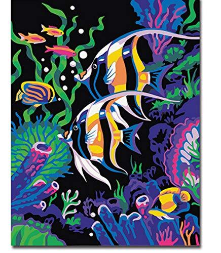 Kit de pintura digital numerada Hermoso pez arte abstracto para colorear Lienzo de bricolaje Simple Decoracion interior Regalo exquisito SDHJMT-20x24inch