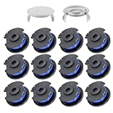 TIOIT 065 Line and Spool Replacement for Ryobi One+ AC14RL3A 18v, 24v, and 40v Cordless Trimmers,Weed Eater String Replacement for Ryobi 11ft Auto Feed Cordless Spools Line(12 Spools, 2 Cap