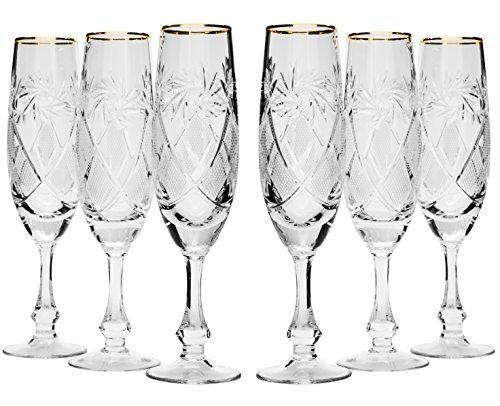 Victoria Bella GB6874G - Set di 6 calici da champagne in cristallo, da 170 ml, realizzati a mano, placcati in oro 24 K, bicchieri da vino su stelo corto, regalo per matrimonio