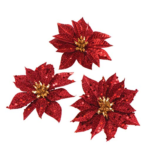 Baker Ross AR844 Glitter Poinsettia Artificial Flowers Decoration or Christmas Crafts (Pack of 8), Assorted