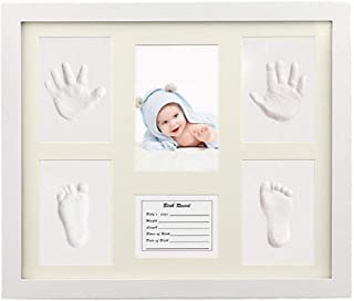 Baby Handprint Kit & Footprint Photo Frame for Newborn Girls and Boys, Baby Photo Album For Shower Registry, Personalized ...