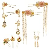 Bridal Headdress Hairpins Headpieces with Earrings for Wedding Jewelry Chinese Traditional Hair Stick