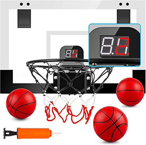 MejorChoy Indoor Mini Basketball Hoop Set for Kids for Door Wall Room with 3 Balls Electronic Scoreboard and Sounds