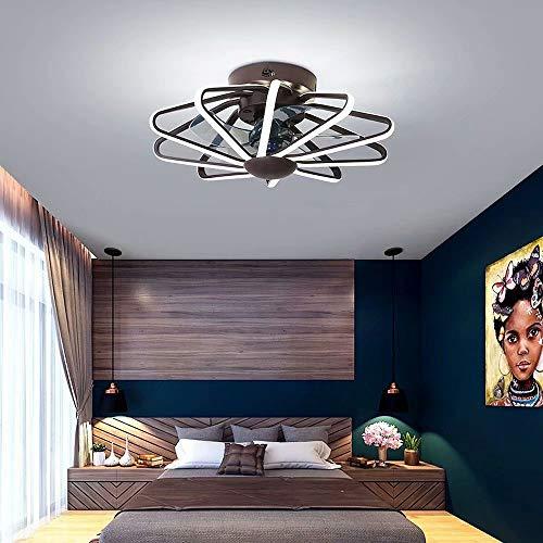 Luz de ventilador de techo invisible,luz de ventilador de hogar con cambio tricolor con control remoto,lámpara de araña LED con ventilador de iluminación integrado,lámparas de restaurante,58 cm