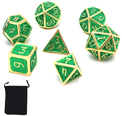 DollaTek Dadi poliedrici in Metallo 7PCS con Custodia Nera per Giochi di Ruolo Dungeons And Dragons Insegnamento di Matematica D&D (Gear Copper Red And Purple)