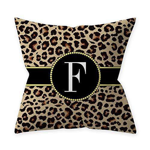 gszfsm001 - Federa quadrata con motivo leopardato, 26 lettere, per cuscino decorativo, per casa, divano, sedile auto, prodotti di decorazione