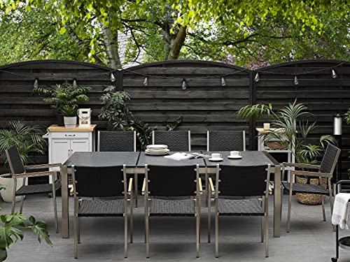 Beliani Gartentisch aus Steingemisch schwarz geflammt 220 cm Grosseto