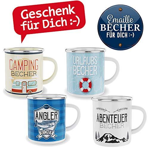 LS-LebenStil Emaille Kaffee-Becher 300ml Vintage Angler-Becher Outdoor Kaffee-Pott Tee-Becher