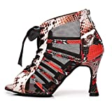 HROYL Zapatos de Baile Latino Mujer Zapatos de Baile de Salón Zapatos de Baile Mujer Salsa y Bachata,YCL378-Negro Rojo-5,EU38