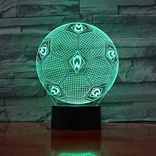 Bundesliga Fußball Team Fc Werder Bremen 3D Illusion Led Nachtlicht Jungen Kinder Baby Geschenke Fußball Tischlampe Nachttischdekoration