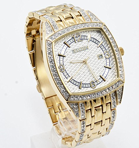 Elgin FG7097 Men's Square Analog Date Oversized White Stone Bracelet Style Watch -  1