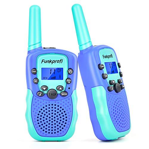 Funkprofi Walkie Talkies für Kinder, T-388 Funkgeräte für Kids ab 3 Jahre PMR 446 Reichweite bis zu 3 km 8 Kanäle für Einkaufen, Freizeitpark, Zelten, Shopping, Indoor – 2 Stück (Blau+Blau 2)
