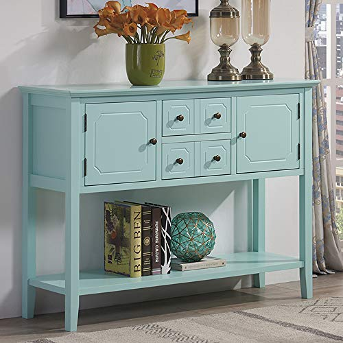 Mixcept Retro Style Console Table Sideboard Cabinet Buffet Table Console Table Dining Server with Drawers Storage Cabinet Open Shelf for Hallway, Foyer, Furniture, Aqua Smoke
