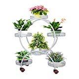 Ibnotuiy Metal Plant Stand with Wheels Indoor Outdoor 4 Tiers Plant Display Flower Pot Holder Rolling Plant Rack for Patio Garden Living Room (White)