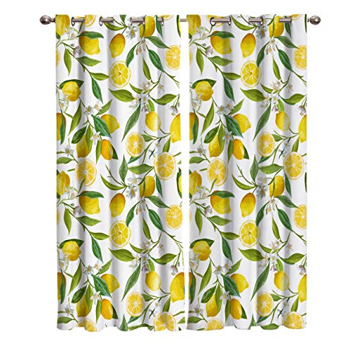 """Shine-Home Window Curtains with Gromments Kitchen Drapes, Yellow Lemons Natural Furit and Green Leaves Pattern, 2 Panels Window Treatment Drapes for Living Room/Bathroom/Office 55"""" W x 39"""" L"""
