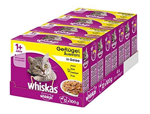 Whiskas 1 + Katzenfutter – Geflügel-Auswahl in Gelee – Hochwertiges Feuchtfutter für ausgewachsene Katzen – 48 Portionsbeutel à 100g
