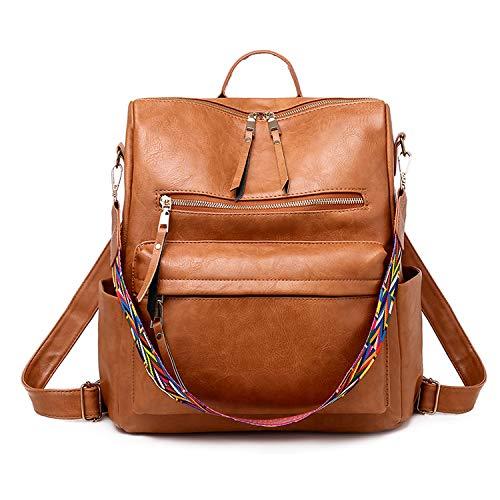 FANDARE Retro Backpacks 3 in 1 Women Shoulder Handbag Waterproof Girls School Bag Casual Daypacks Lightweight Rucksack for Commute Outdoor Travel School Campus Shopping Sport Durable PU Brown