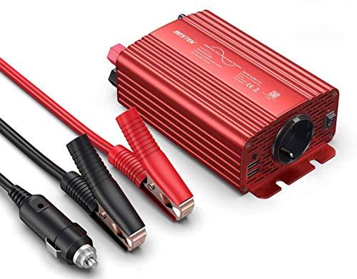BESTEK Inverter Onda Pura 300w/ Inverter 12v a 220v da Auto per Camper con 2 Porte USB 4,2A & 1 Presa AC(Adattatore per Accendisigari, Clip per Batter