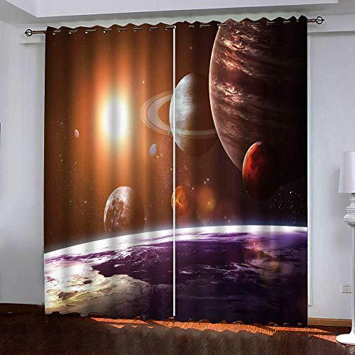 ZLQBed Vorhang Blickdicht Planet Universum Vorhänge Blickdichte Thermo Gardinen Verdunkelungsvorhang Ösen Vorhänge für Schlafzimmer Wohnzimmer Kinderzimmer 2 Stück, 140x160cm