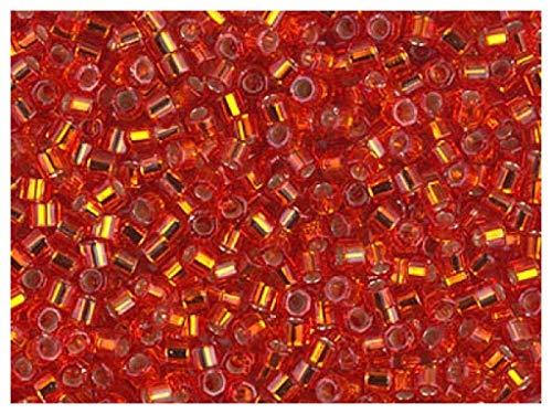 Miyuki Delica Cut Beads, 10/0, 10g, japonesas Cuentas de Vidrio en la Forma de un Cilindro Hex de 2.2x1.7 mm, Agujero de 1.0mm, Flame Red/Silver Lined (Clear Ruby Outside, Silver Metallic Inside)