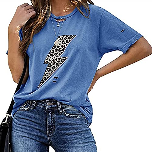 Mayntop Camiseta de verano para mujer de manga corta, con estampado gráfico de rayo, con bandera suelta y cuello en O, B-azul oscuro., 36