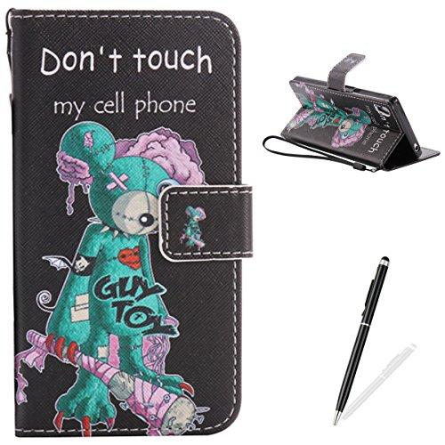 Feeltech Compatible with Case Sony Z5 PU Leder Brieftasche Retro Vintage Muster Fall mit Magnetverschluss Stand Funktion Kreditkartenhalter Tasche - Grüne Maus