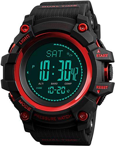 Herrenuhr Miltär Kompass Sportuhren mit Schrittzähler Barometer Altimeter Höhenmesser Wettervorhersage