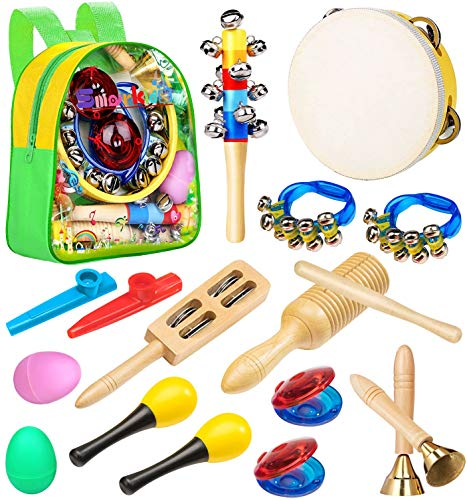 Smarkids Musikinstrumente für kinder, Spielzeug von Holz Schlaginstrument Kinder Musikalisches Instrument Schlagzeug Schlagwerk Musik Kinderspielzeug für Kleinkinder Lernspiele ab 3 Jahre mit Rucksack