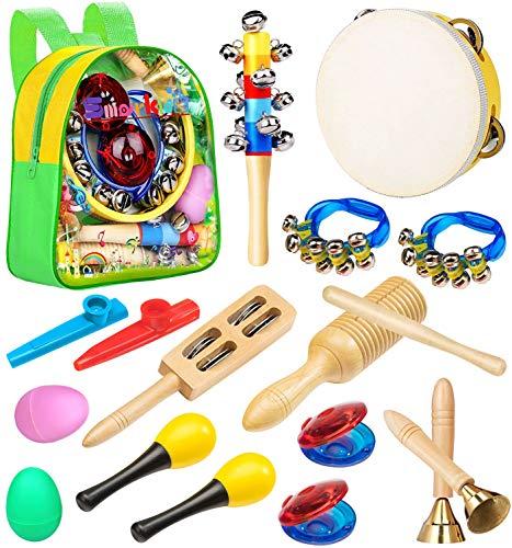 Smarkids Instrumentos Musicales Infantiles, juguetes musicales instrumentos de percusión juguetes niños educativos maracas shakers panderetas regalos de navidad para niños y niñas con mochila 3~8 año