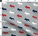 Elch, Marineblau, Rot, Junge Stoffe - Individuell Bedruckt