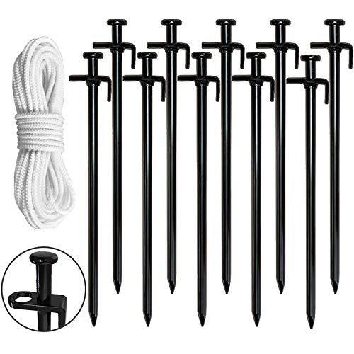 Eurmax 10PC Pack 12 inch Multiuse Heavy Duty Steel Tent Stakes Tarp Pegs Camping Stakes for Outdoor Camping Canopy and tarp with 4 Ropes 10FT Length