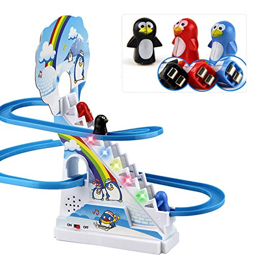 Mabor Mini Penguin Slide Electric Rail Car with Music, Puzzle Cute Tiny Penguin Climbing Stairs Roller Coaster Toys, Durable Plastic Parent-child Interaction Toys Set Kids Gifts