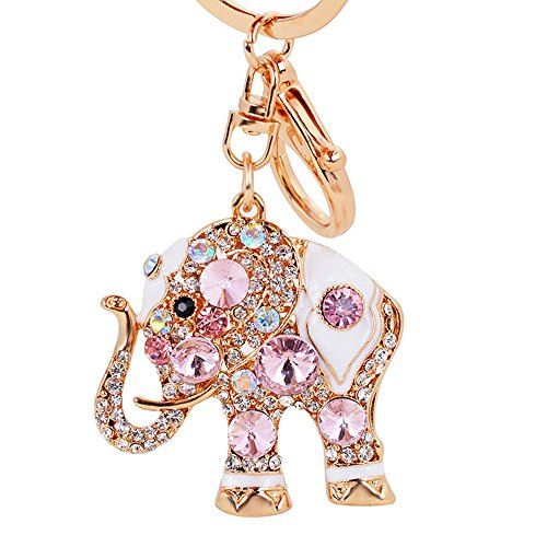 Luxus-Elefant Schlüsselanhänger Handtasche hanging Schnalle Wallet Accessories Schlüsselanhänger (Rosa)-Samtlan
