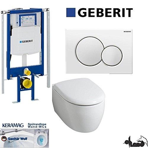 Geberit Duofix UP 320 ECK Vorwandelement mit Sigma01 WEISS, Keramag ICON, rimfree, Spülrandlos, Tiefspül-WC, inkl. Sitz,Keratect Beschichtung