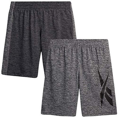 Reebok Boys' Basketball Shorts - Performance Athletic Shorts (2 Pack), Size Large, Pepper/Asphalt