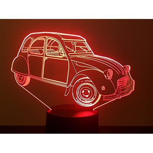 CITROËN 2CV, Lampada illusione 3D con LED - 7 colori.