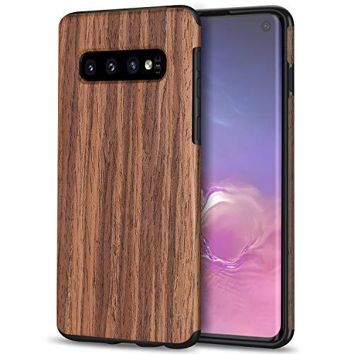 TENDLIN Galaxy S10 Hülle Holz und Flexiblem TPU Silikon Hybrid Weiche Schutzhülle Kompatibel mit Samsung Galaxy S10 (Rotes Sandelholz)