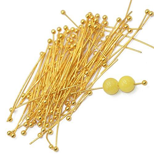 MagiDeal 200pcs 20mm Light Golden Brass Ball Pins Jewelry Findings Headpins - 30 mm