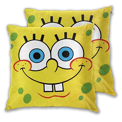CFECUP 2 Pieces Funny Spongebob Pillow Cases for Couch Cover Cute Living Room Decor, 22 x22 in