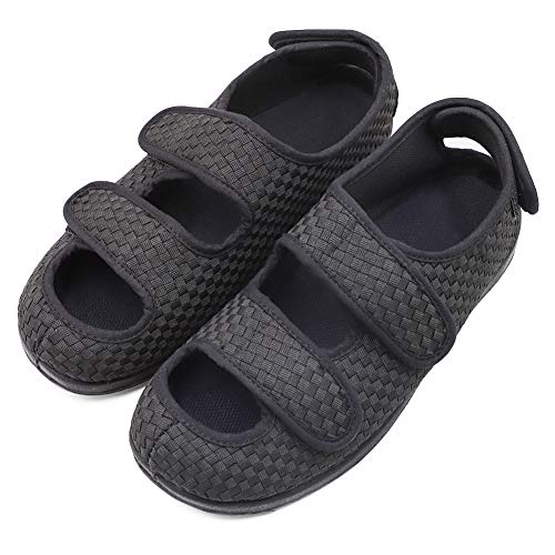 Women's Extra Wide Width Adjustable Slippers, Diabetic & Edema Slippers Swollen Feet Walking Shoes Indoor/Outdoor Orthopedic Sandals Black